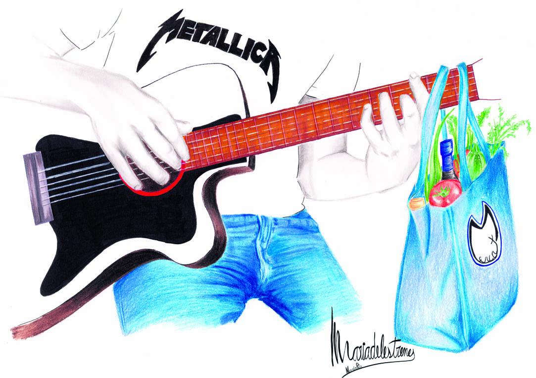 Un home amb una samarreta de Metallica tocant la guitarra